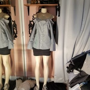 Grey/white off shoulder button up blouse